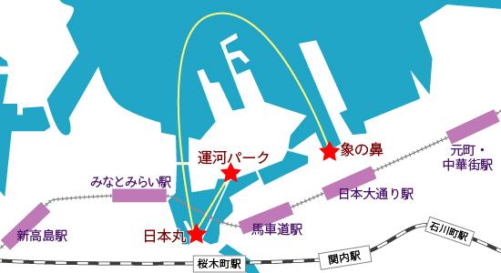 京浜フェリーボートの水上バス経路