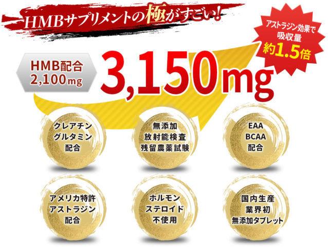 HMB極ボディの特徴①HMB含有率は業界最大級の2,100mg