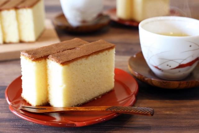 筋トレ中に食べるコンビニお菓子:カステラ